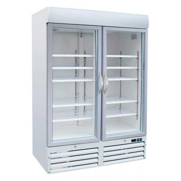 Armoire Réfrigérée Négative 1000 Litres Blanche 2 Portes Vitrées