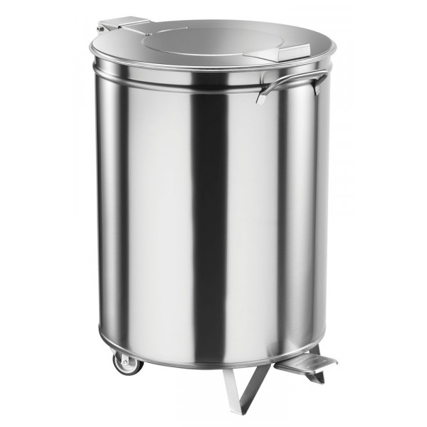Poubelle Cylindrique à Déchets Inox 100 Litres Ouverture à Pédale