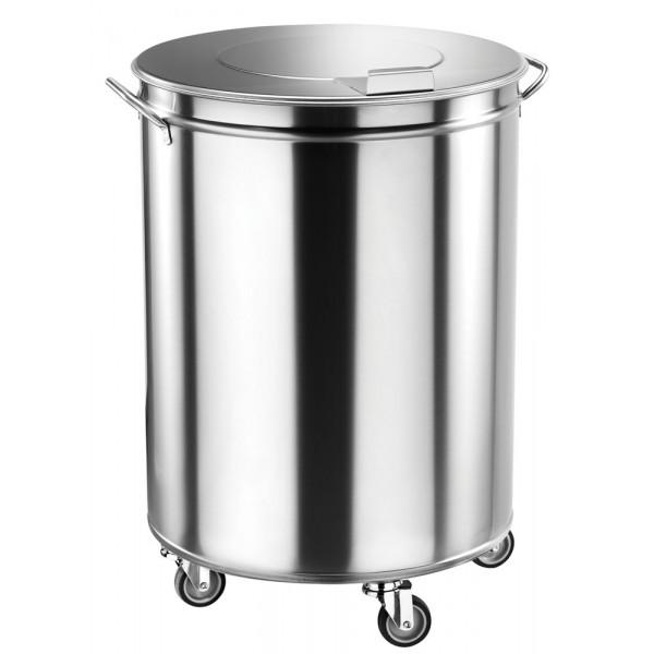 Poubelle Cylindrique à Déchets Inox 100 Litres Sans Pédale